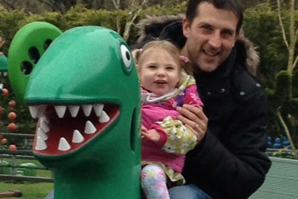 Sophie Ryback, three, and her father Michael test out one of the park's rides
