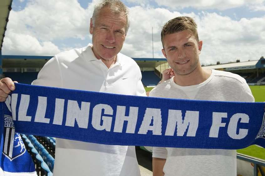 Gillingham manager Peter Taylor with summer signing Doug Loft. Picture: Andy Payton