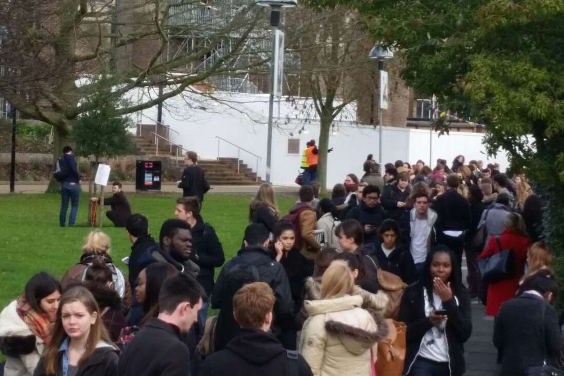 Students have been evacuated from the University of Kent library because of a suspect package.