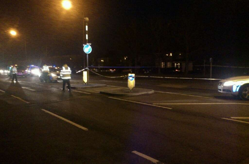 The scene on Sutton Road after the crash