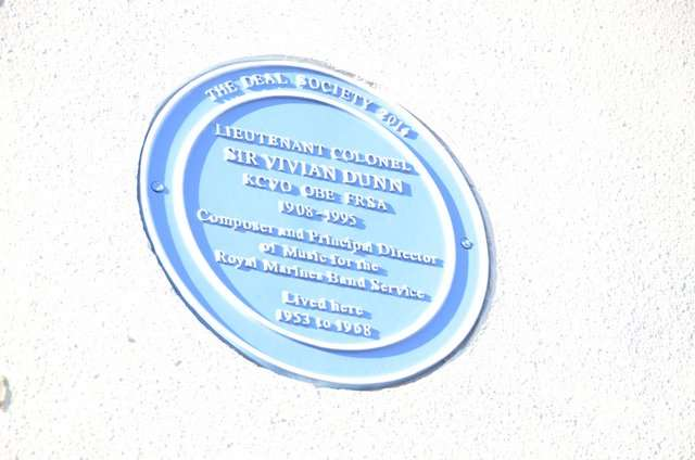 The plaque, commissioned by the Deal Society, is now fixed to the front of Sir Vivian Dunn's former house. It is now called Hougoumont, in North Barracks, Deal