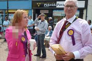 Janice Atkinson pictured by protesters in Ashford