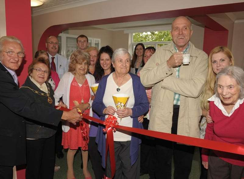 Mayor and Mayoress, George and Brenda Bobbin, open the new dementia cafe at Barton Court Care Home in Minster