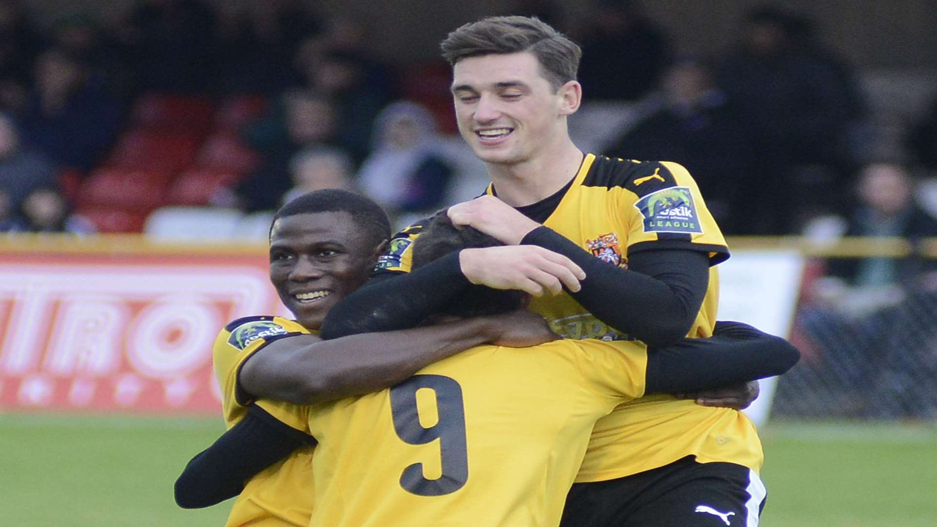 Folkestone celebrate one of their goals against Dorking Wanderers Picture: Paul Amos