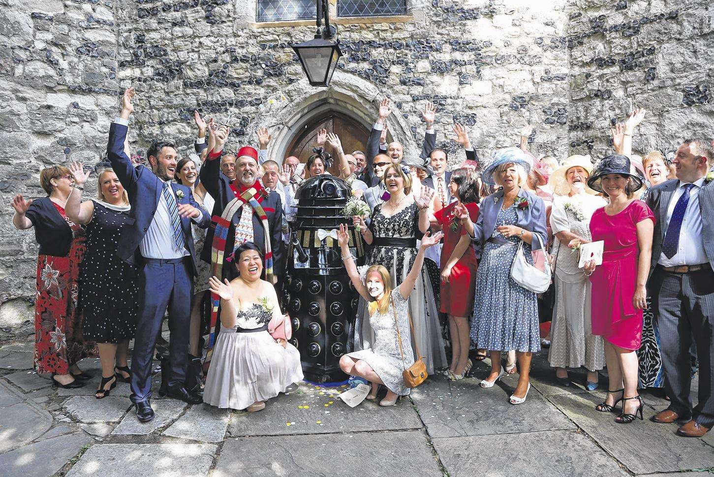 Guests at the Doctor Who themed wedding at St Peter & St Paul's Church, Gravesend. Picture: Roger Vaughan.