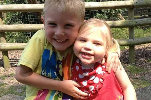Delighted Sophie Ryback with her six-year-old brother Oliver at Peppa Pig World