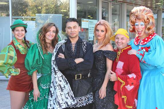 The cast of The Woodville panto, from left Eleanor Sandars, Keavy Lynch, Ricky Norwood, Edele Lynch, Ant Payne and Robert Pearce