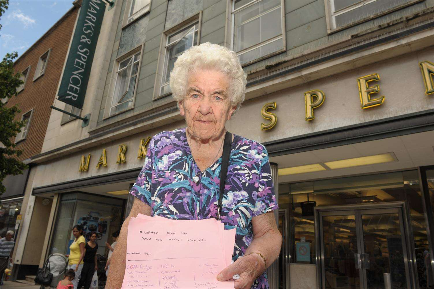 Vera Purll, 93, outside the Marks & Spencer store in Gravesend