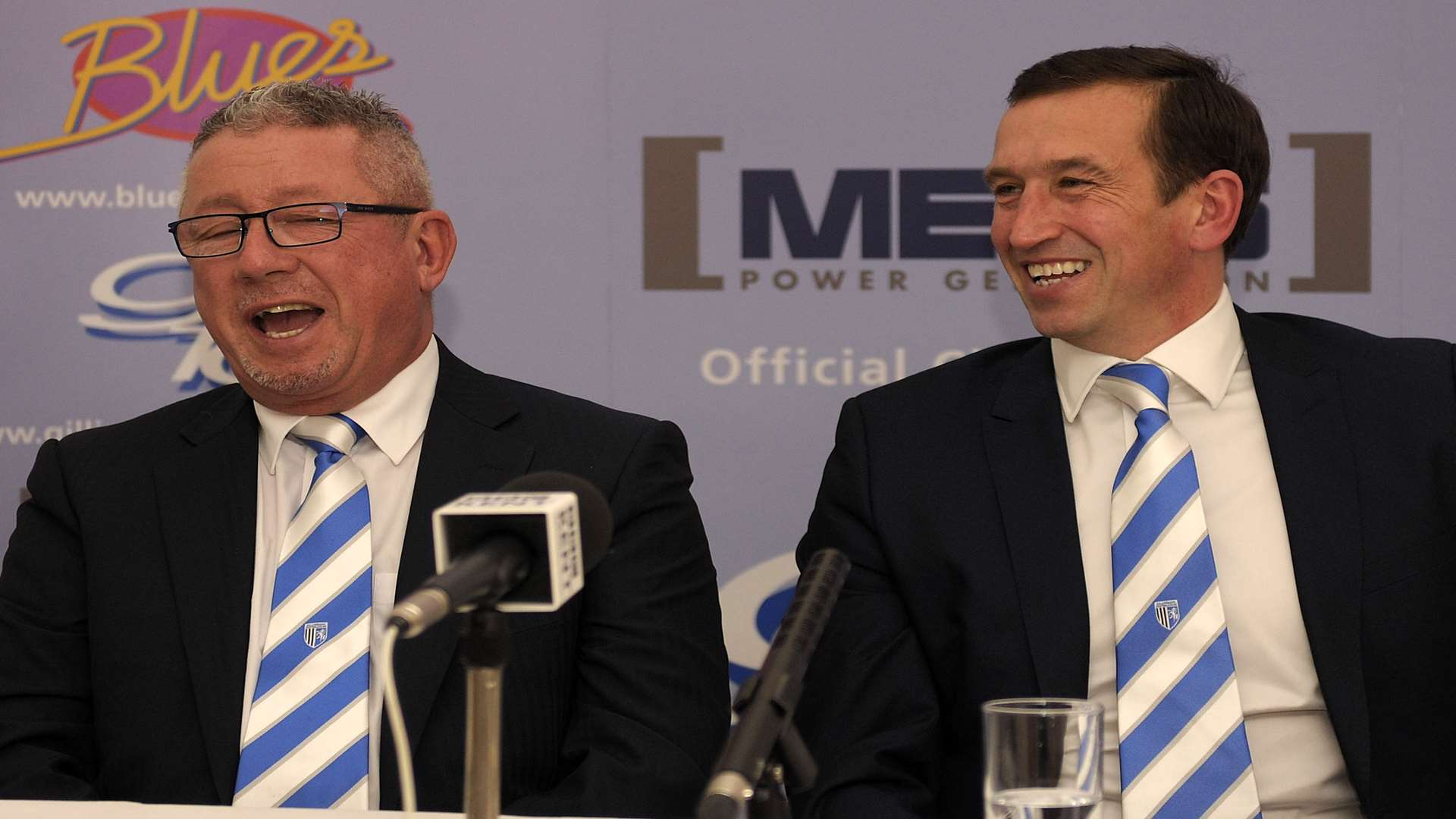Gills chairman Paul Scally unveils Justin Edinburgh to the press before the Sheffield United game Picture: Barry Goodwin