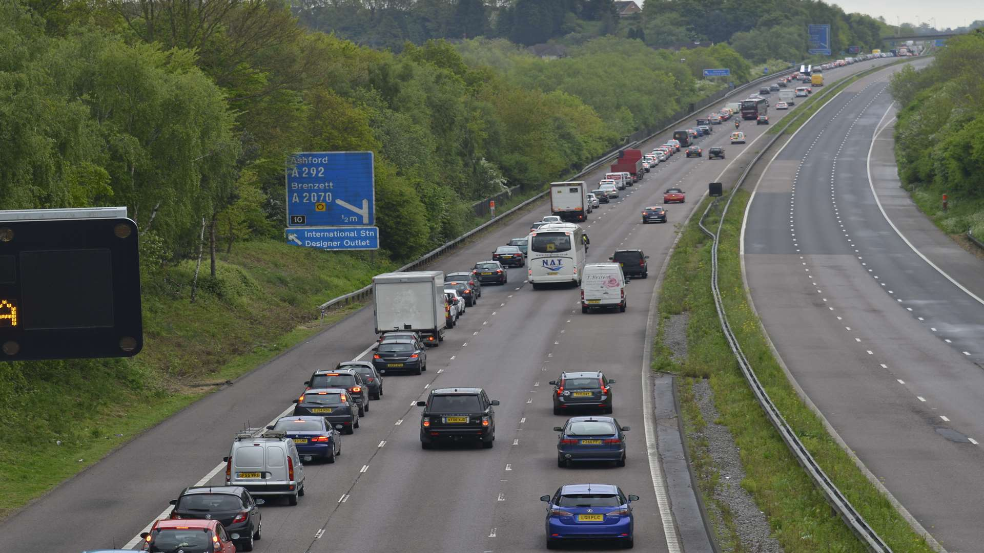 The M20 between junction 9 and 10 at Ashford.