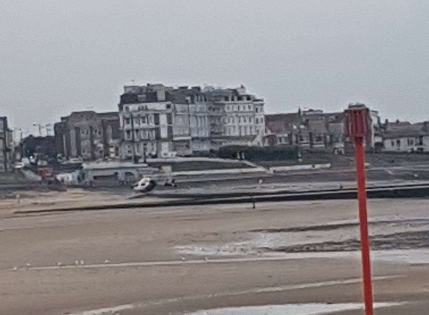The air ambulance landed at Margate seafront. Picture: Nadine Fullarton