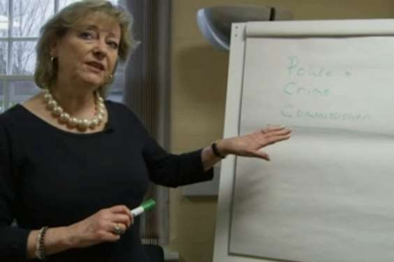 Kent police and crime commissioner Ann Barnes eventually spells her job title correctly. Picture: Channel 4