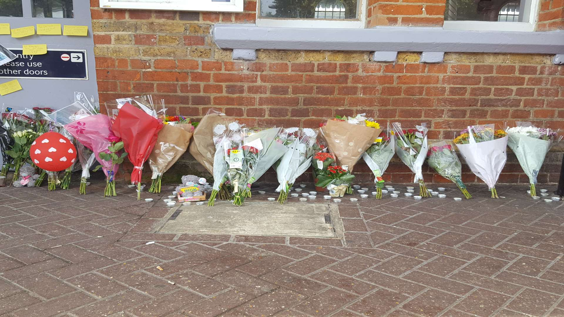 Flowers left at Herne Bay station for Taiyah-Grace Peebles