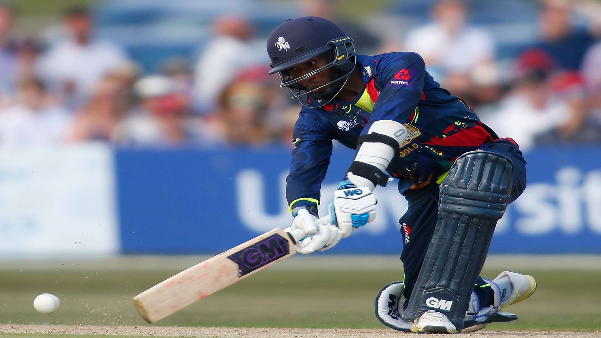 Daniel Bell-Drummond on his way to 90 not out for Spitfires. Picture: Andy Jones