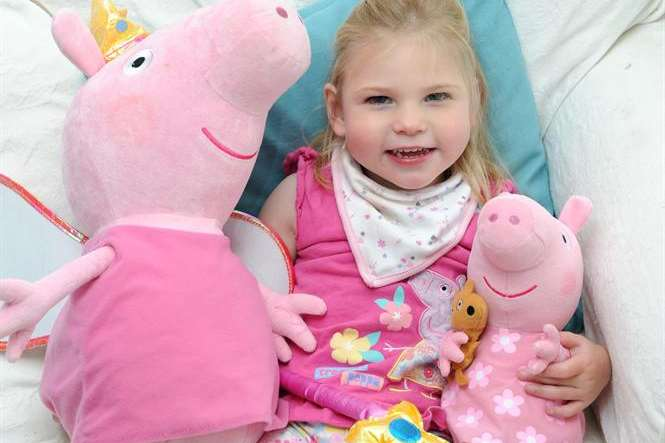 Sittingbourne girl Sophie Ryback at home with her Peppa Pig toys