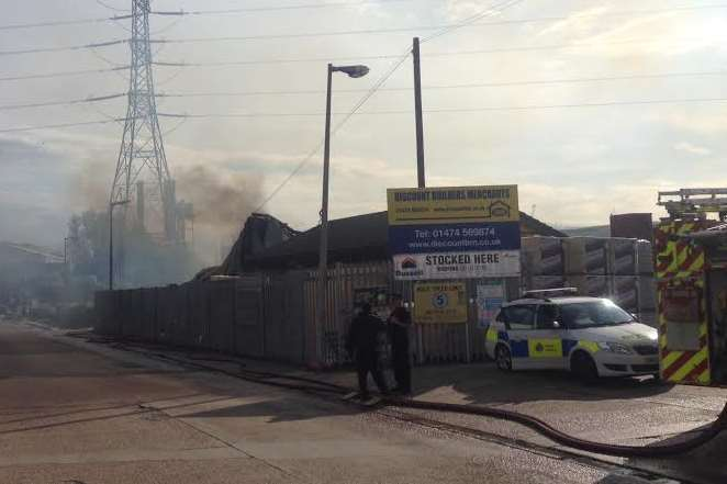 The scene of the massive blaze at a Northfleet builders merchants. Picture: Thom Morris