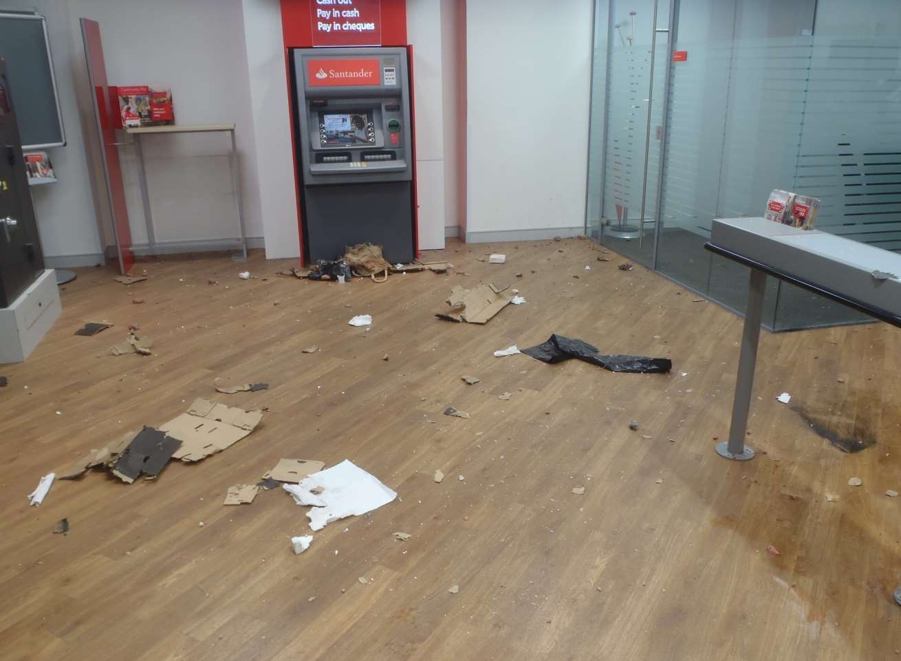 The scene in the bank after the device was exploded. Picture: Kent Police