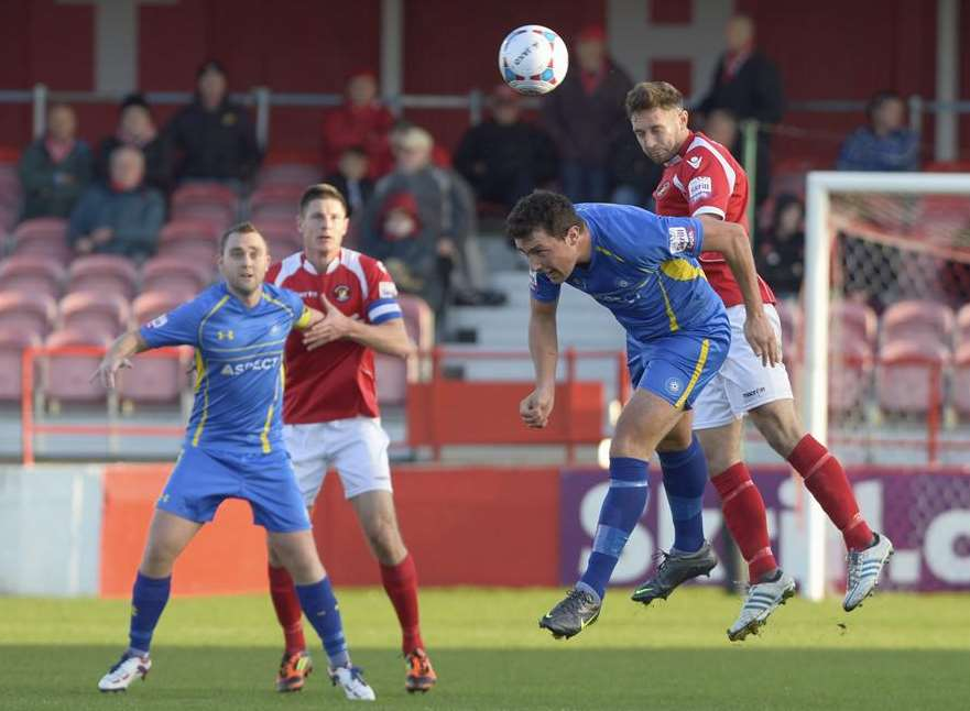 Action from Ebbsfleet's 4-0 win at home to Concord Picture: Andy Payton