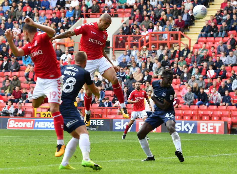 Charlton's Josh Magennis scores against Southend. Picture: Keith Gillard
