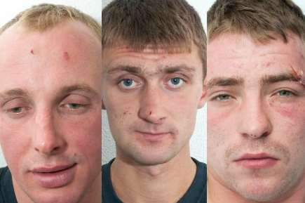 Convicted Maidstone murderers (from left) Saulius Tamoliunas, Linas Zidonis and Alexandras Zuravliovas