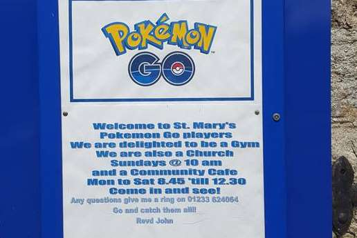 The Pokemon notice at St Mary the Virgin church in Willesborough