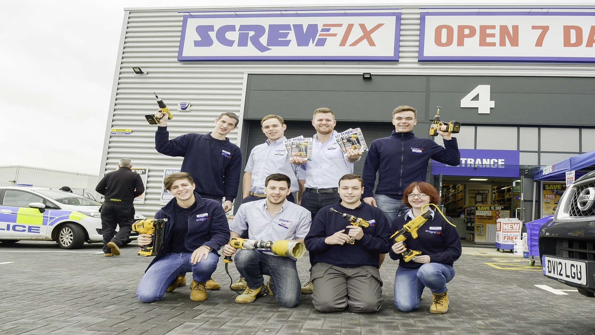 Staff from the new Screwfix store