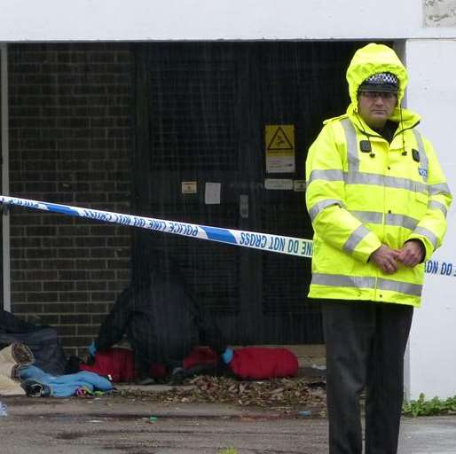 Police at the scene behind Europa House where Tim Clayton was found. Picture: @Kent_999s