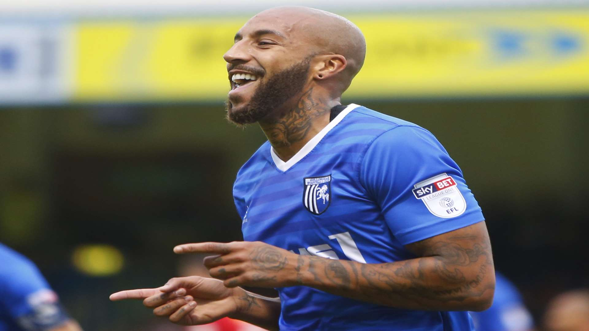 Josh Parker celebrates scoring Gillingham's first goal Picture: Andy Jones