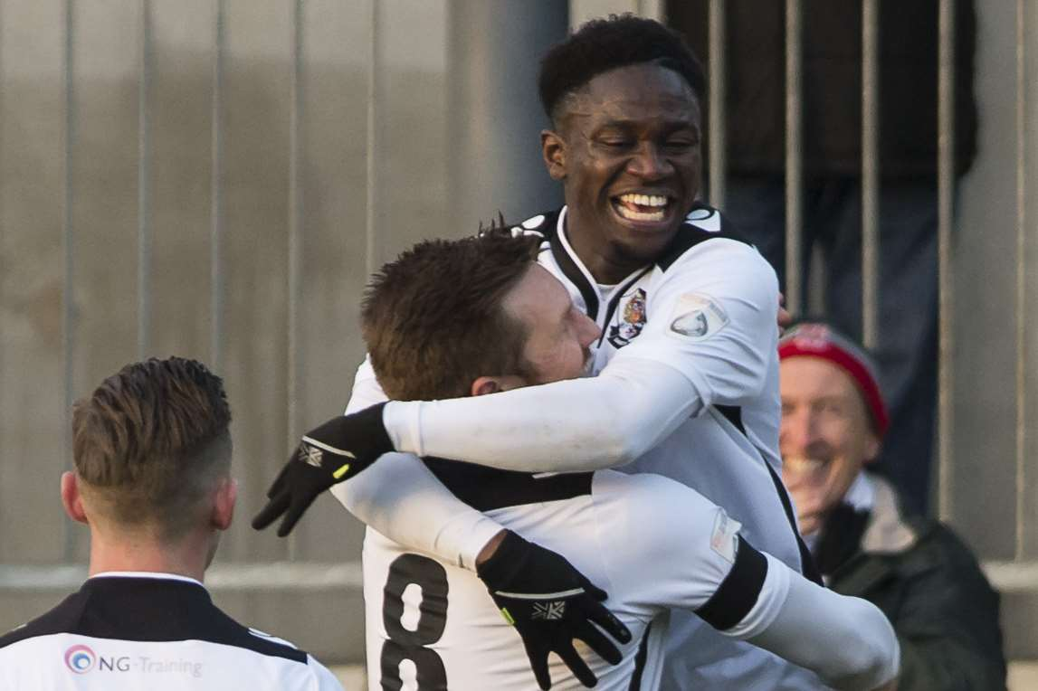 Luke Wanadio enjoys the moment after scoring Dartford's second goal against Poole Town Picture: Andy Payton