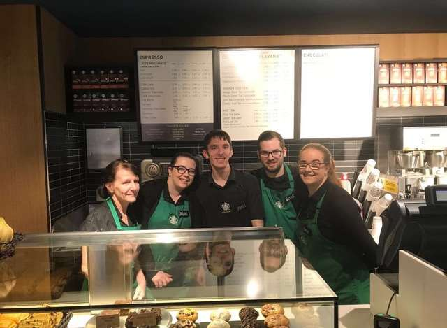 Some of the staff in the newly refurbished Starbucks.