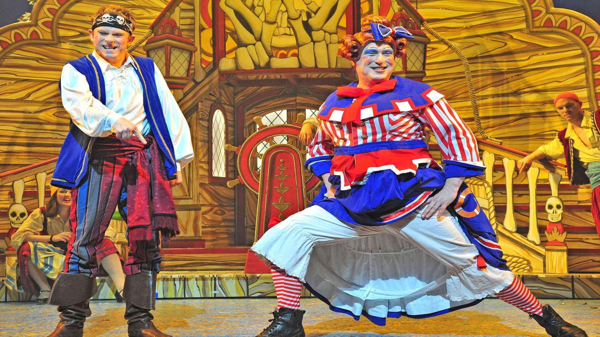 Lloyd Hollett and Ben Roddy get into the panto spirit at the Marlowe