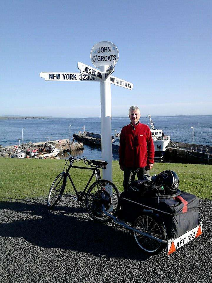 Richard Steven at the end of his first challenge - John o'Groats