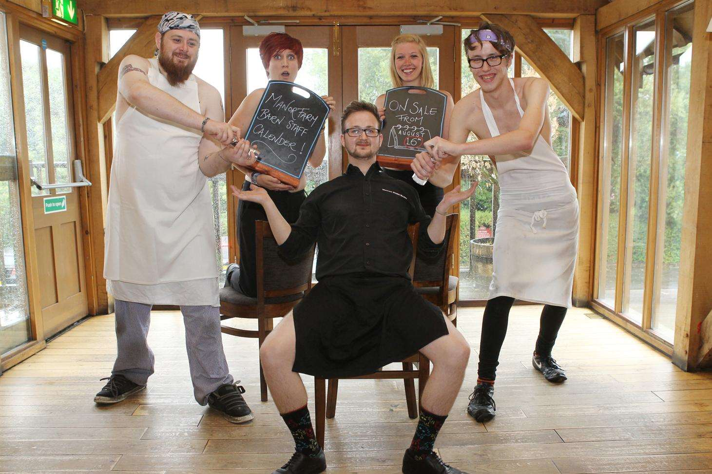 Staff at the Manor Farm Barn Pub with their version of the naked chef