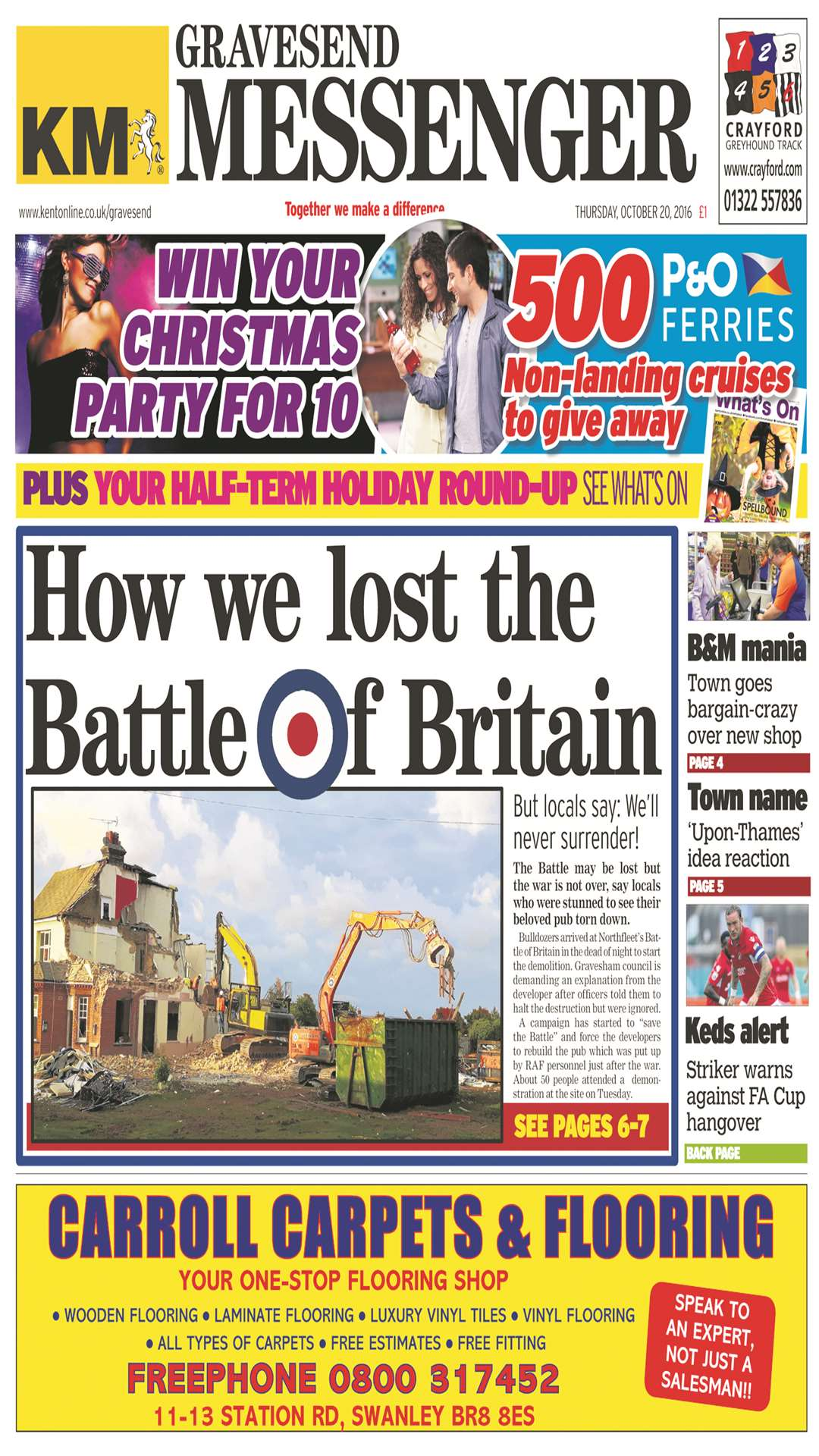 Gravesend Messenger front page on the week the Battle was demolished