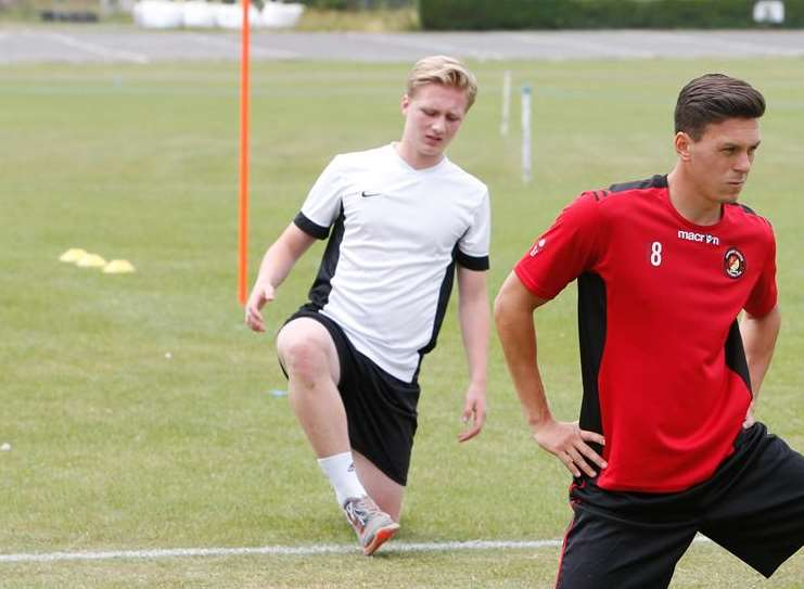 Leo Mazzone (in white) training at Cobdown Picture: Matthew Walker