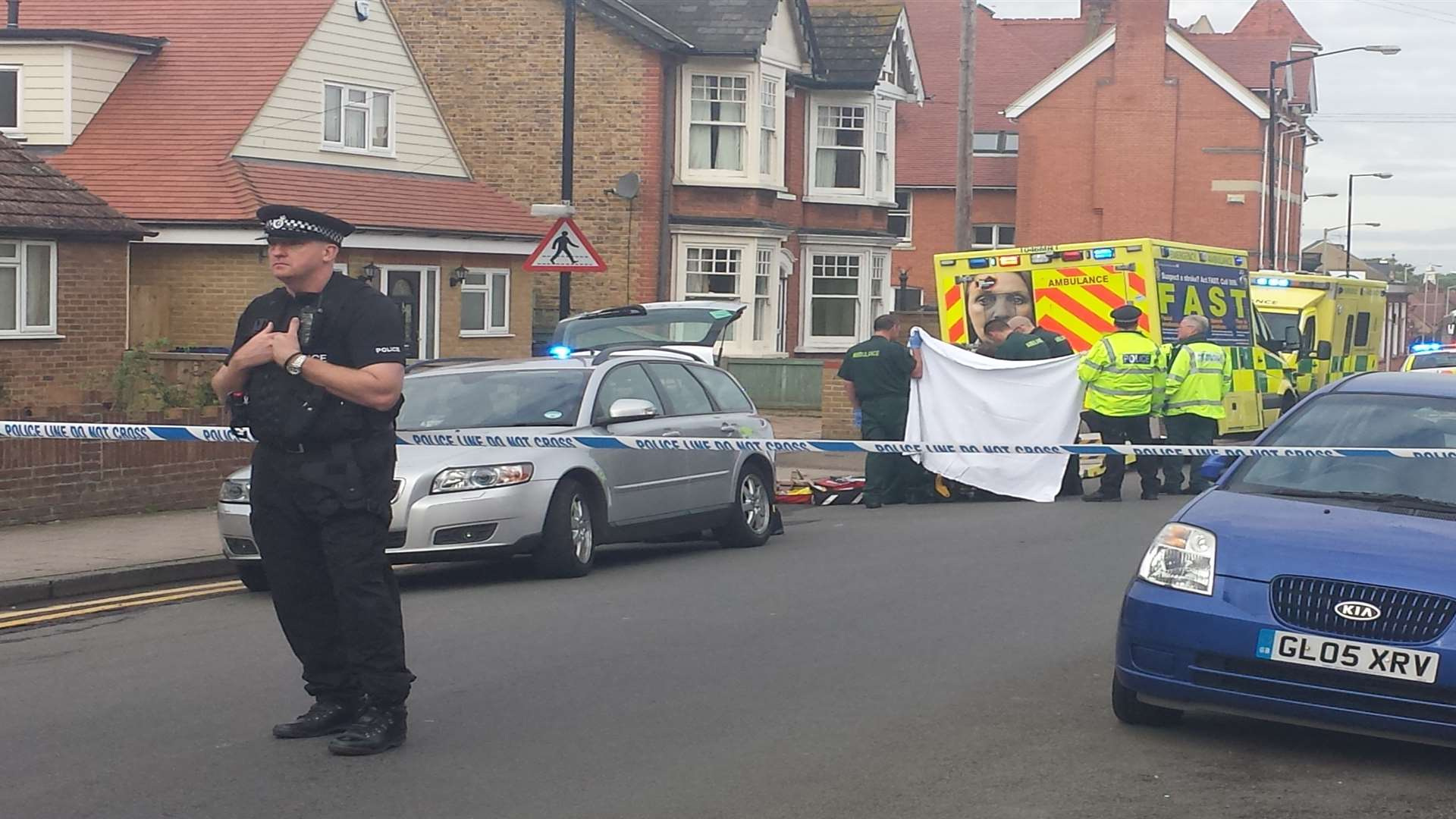 Police shut the road so the man could be treated