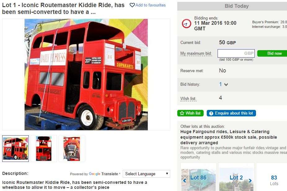 Bids have already started on the children's big red bus