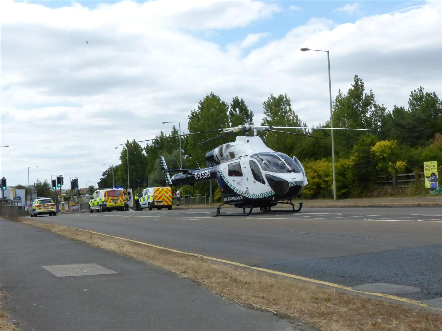 The air ambulance at the scene. Picture: Andy Clark