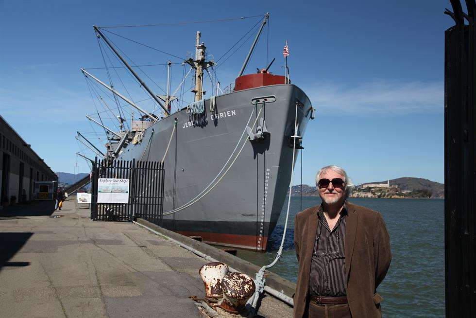 Ken Rowles next to the SS Jeremiah O'Brien