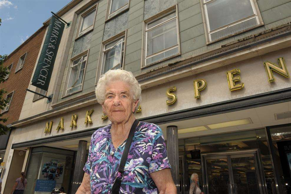 Vera Purll, 93, outside Marks & Spencer, New Road, Gravesend