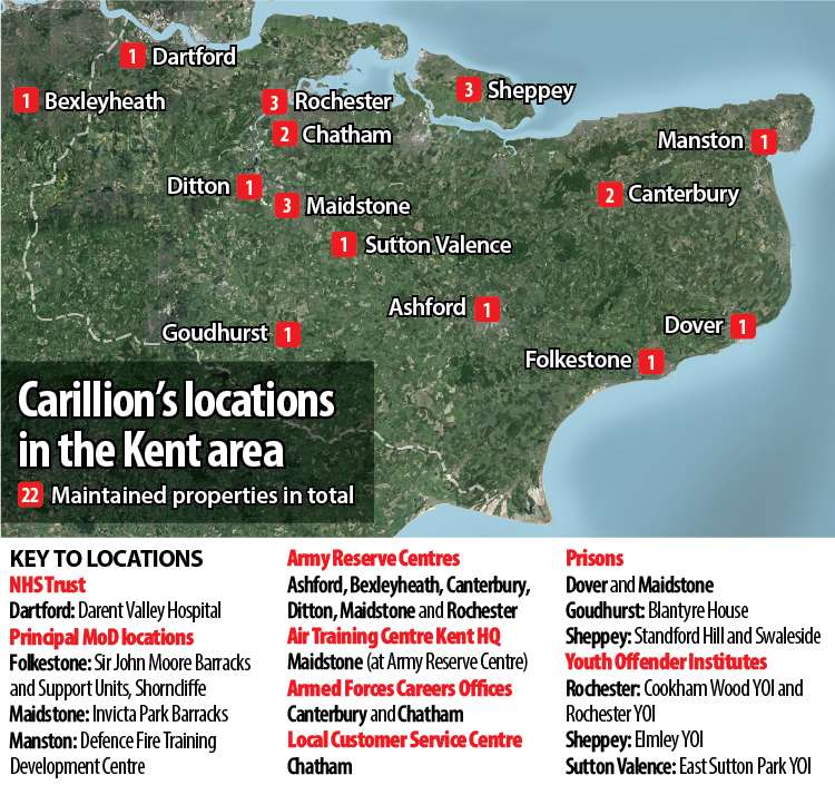 Carillion had numerous contracts across the county