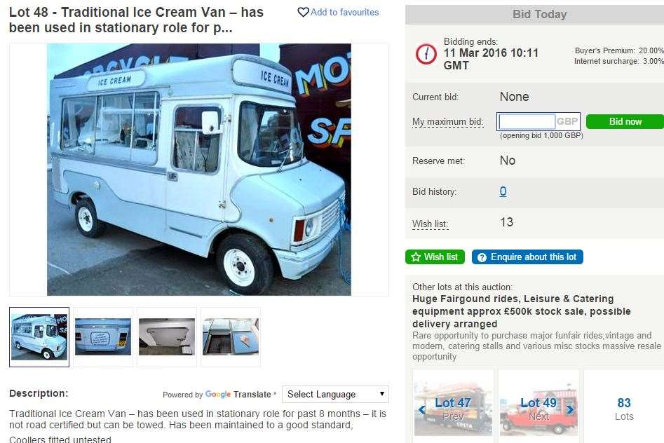 A quick start-up business is available with this ice-cream van sale