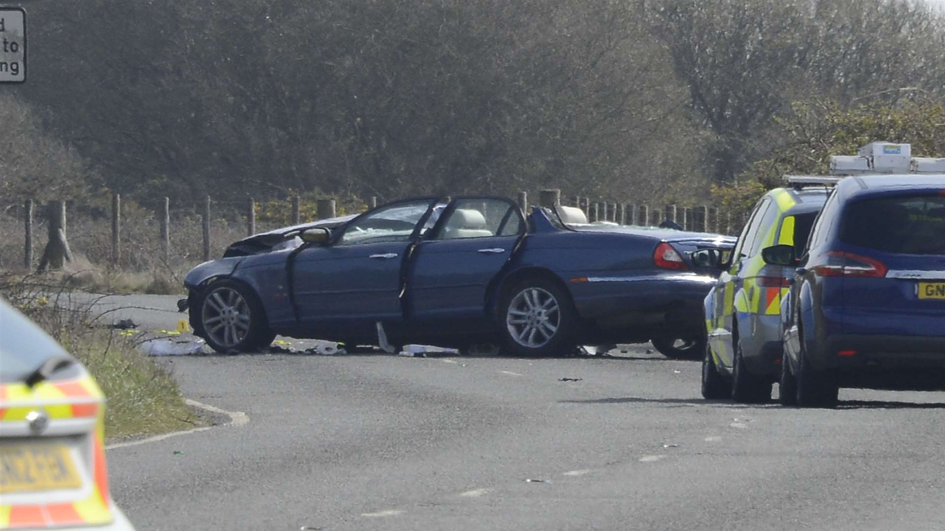 The Jaguar involved in the crash. Picture: Paul Amos