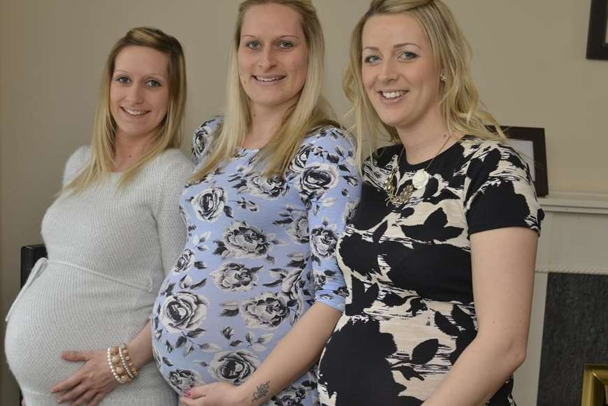 Carla Manning, Jodie Manning and Kerry Harwood are all due to have babies within weeks of each other