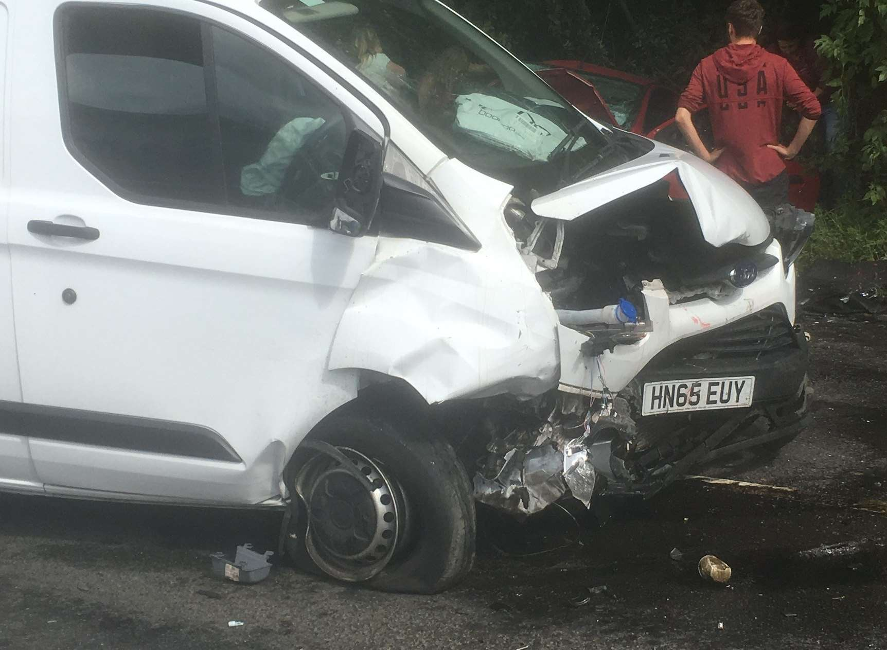 The van involved in the fatal crash