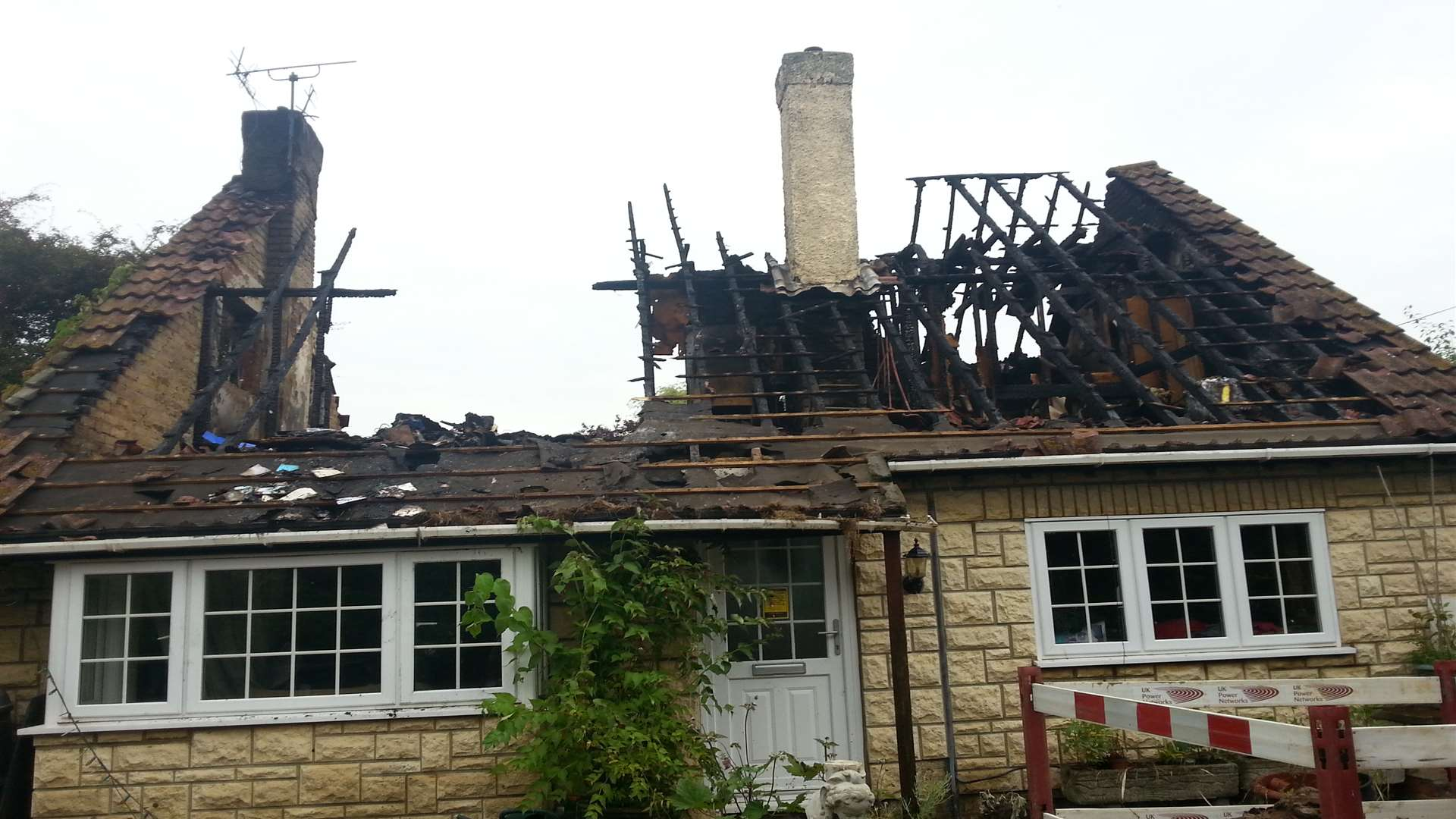 The lightning strike has destroyed the home in South Street