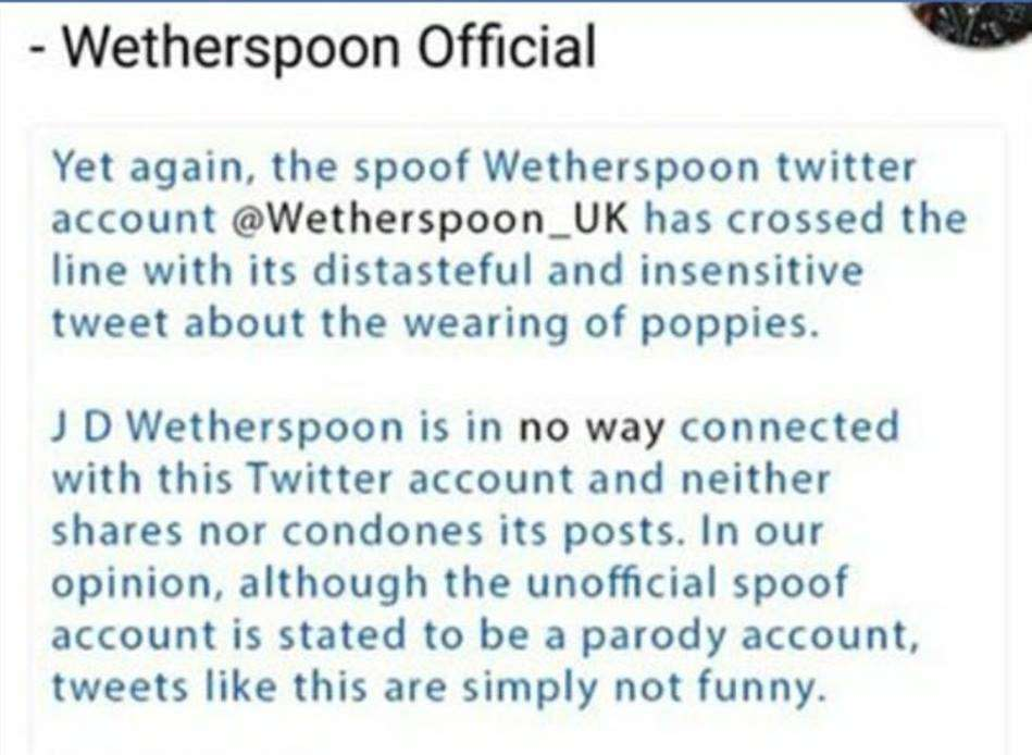 "JD Wetherspoon fights back:""This is simply not funny"""