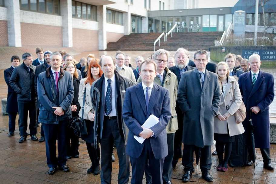 Oliver Saxby QC leads barristers in a strike outside Maidstone Crown Court in January