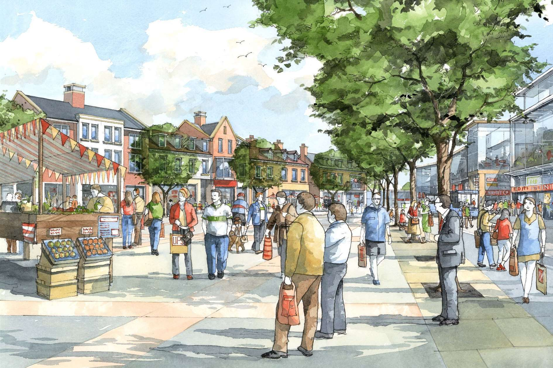 An artist's impression of how the market square at Chilmington Green might look. Picture: Michael Taylor