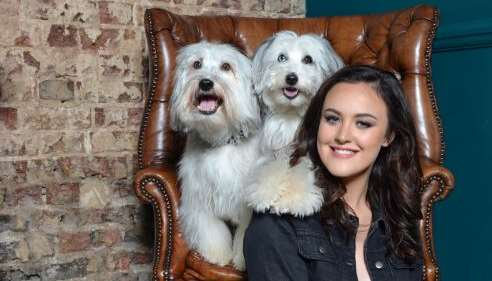 Ashleigh with trained dogs Pudsey and Sully
